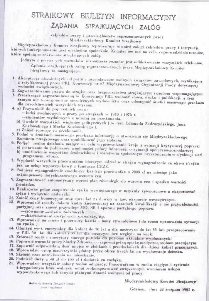 21 postulatów strajkowych