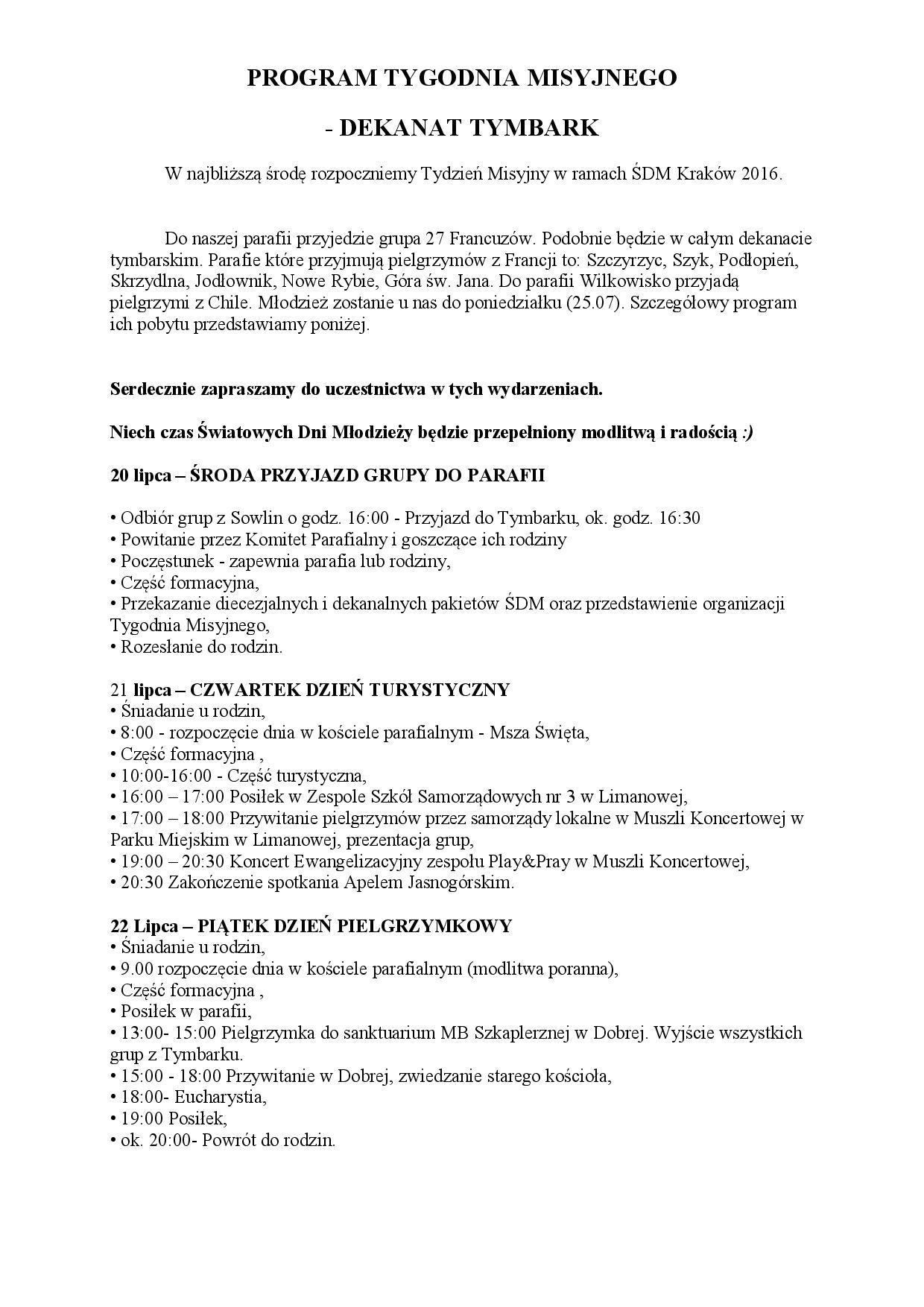 Tydzień misyjny_program na fb