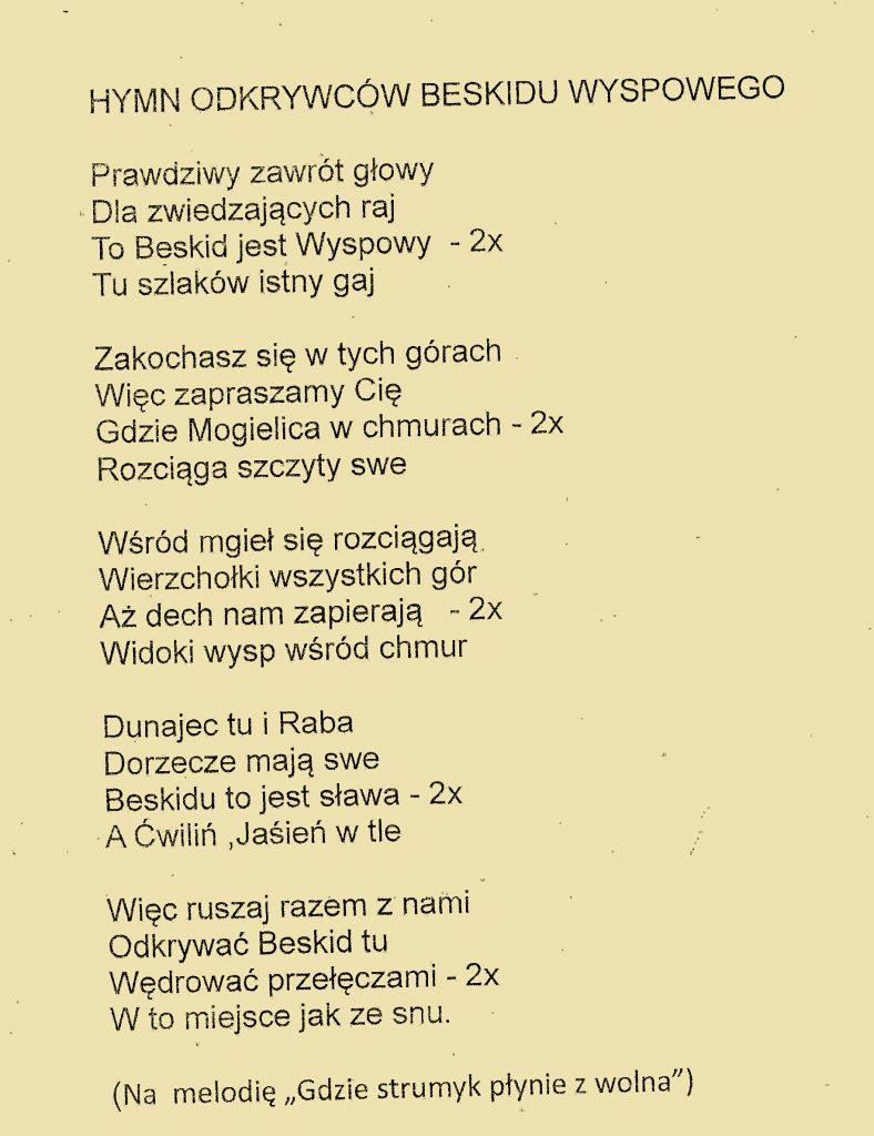 piosenka- hymn Odkrywców Beskidu Wyspowwego